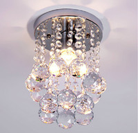 Wholesale ceiling lights Modern crystal flush porch light mini crystal lighting vestibule lighting ceiling mounted led porch lighting LED step lights