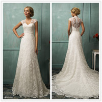 A-Line Reference Images V-Neck Sheer Neck 2014 Lace A-Line Wedding Dresses V-Neck Short Sleeve Chapel Train See Through Covered Button Amelia Sposa Bridal Gown 0423B