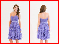 Wholesale Lavender Bridesmaid Dresses Tiered Cascading Ruffles Skirt Hem Bodice Pleats Waist Sash Sweetheart Girl Dress For Wedding