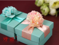 Pink tiffany blue favor boxes - 50Pcs Blue Candy Boxes With Flowers High Quality European Style Gift Wedding Favor Holders