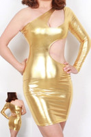 Runway Polyester One Shoulder 2014 Hot Metallic Gold Shiny One Shoulder Party Club Bodycon Dress Mini 21260 Sexy PU Leather Cut Out Clubbing Stripper Pole Dancing Dress