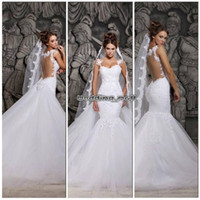 Wholesale Glamorous New Backless Wedding Dresses Sweetheart Mermaid Detachable Chapel Train Beaded Lace Applique Bridal Gowns