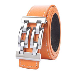 Mens Silver Knot Buckle Genuine Leather Belt Waistband