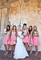 Wholesale Blush Pink Bridesmaid Dresses Cheap A line Chiffon Applqiued Beaded Sweetheart Knee Length Short Dress for Party Wedding Fast Shipping