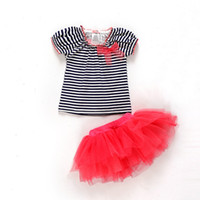 Wholesale GXR Baby Clothing Europe and America Pure Cotton Stripe Tshirt Tutu Skirt Baby Girl Set Toddler Suit M Infant Wear GX150