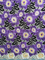 Wholesale High quality African embroidered swiss cotton voile lace fabric PURPLE BEIGE YELLOW ORANGE BLUE swiss voile wedding fabric yds pc