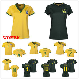 Wholesale crazy world cup Brazil home women soccer football best thai quality woman soccer uniforms