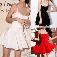 Wholesale Details about Sexy Lady Spaghetti Strap Waisted Slim Bubble Pleated Skirt Mini Party Dress Bar