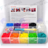 12-14 Years pp plastic case - Rainbow Loom Kit Rainbow Loom DIY Rubber Wrist Bands Bracelets with bands clips Hook PP Plastic Case