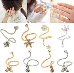 Wholesale X New Fashion Korean Rhinestone Starfish Butterfly Flower Spiral Opening Midi Finger nail Rings Jewelry