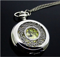 Wholesale New hotest Honey Flower gold surface Pocket Watch Quartz Necklace watch Pendant Chain Clock High quality