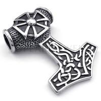 Teboer Bijoux 3pcs / LOT Croix en fer celtique mythes Thors marteau en acier Big Pendant MEP10