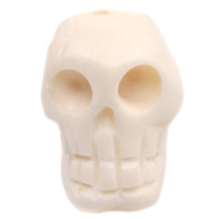 Wholesale 21pcs Bestselling White Colors Skull Design Cow Bone Carved Pattern Spacer Beads Fit Craft Making mm