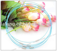 Chains Fashion Storage & Cleaning 60pcs lot Wholesale Fashion Sky Blue Copper Memory Wire Necklace Choker Cords Fit European Jewelry 160268