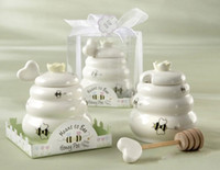 Wholesale Ceramic Meant to Bee Honey Jar Honey Pot Ceramic Honey Pot with Wooden Dipper Wedding Party Favors Gifts