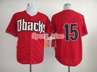 Baseball Men Short Cheap Baseball Jerseys Diamondbacks #15 Mark Trumbo Red Stitched Cool Base Home Jersey High Quality Authentic Baseball Sports Jerseys Sale