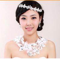 Wholesale wedding jewelry diamond tiara lace necklace three piece suit Bridal Jewelry huihui2014