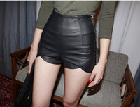 Shorts Men Capris South Korea stylenanda side zipper design wave lace bottom hot pants shorts PU leather pants JH-KZ-013