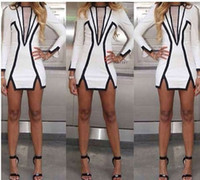 Wholesale Details about Women Spring Summer Black and White Geometric Mini Sexy Party Pencil Dress YXQ