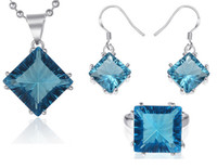 Wholesale Trendy Romantic Square Blue Topaz Jewelry Silver Crystal Necklace Earrings Rings Set