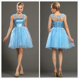 Wholesale 2014 Sexy Beaded Handmade Flowers Sheer Sequin Sleeveless Gowns A Line Jewel Short Organza Blue Party Dresses