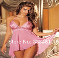 Wholesale Pink Low cut Halter Nighty Europe Sexy Lingerie Plus Size Sexy Women Temptation Underwear With G string b1