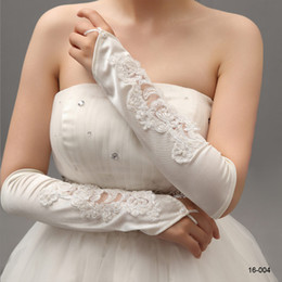 Wholesale Cheap Elegant Embroidery White Ivory Pearls Bridal Gloves for Wedding Opera Fingerless Elbow Length Party Evening Bridal Accessories