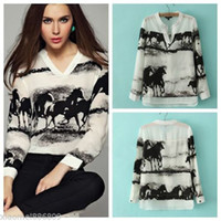 womens tops - Details about Hot Womens Chiffon V Neck Ink Horse Printed Long Sleeve Casual Blouse Tops