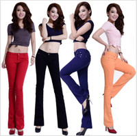 Wholesale 2014 Autumn Winter Fashion candy color jeans stretch Women clothing color slightly flared slim thin trousers jeans