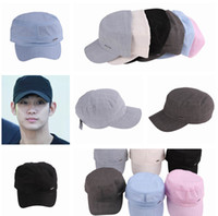 Wholesale Solid Color Unisex Cotton Casual Trucker Military Cadet Army Hat Baseball Cap Sun Sport Adjustable EAC