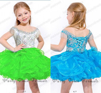 Reference Images Toddler Beads 2014 Cute little girl's cupcake pageant dresses sequins beaded sparkly off the shoulder lace-up back short mini ruffles ball gowns PT1203