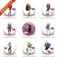 Wholesale 2014 New arrival Novelty amp Fashion Monster High school Buttons Pins Badges inches amp mm lt Round Badges Party favor Kid s Gift