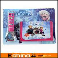 Wholesale Cartoon Spiderman Despicable Me Frozen Peppa Pig Watches and Wallet Sets With Gift Box XMAS Gift Purses Wallets