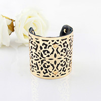 bijoux - Designer Jewelry Bijoux Women Gold Color Alloy Hollow Out Punk Style Colorful Pu Leather Cuff Bracelets and Bangles