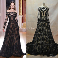 Reference Images Jewel/Bateau Lace 2014 hot sale Inspired Zuhair Murad Evening Dresses A Line Transparent Neckline Long Sleeve Black Lace Evening Gowns