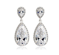Wholesale Elegant Teardrop Shaped Swiss Cubic Zirconia Diamond Bridal Earrings for wedding