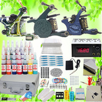 3 Guns cheap tattoo equipment - USA Dispatch Professional complete Cheap Tattoo Kits Gun Machines Ink Sets Equipment Needle power supply grips tips K102