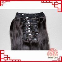 Wholesale 18 quot quot quot quot inches g Remy Clip in human hair extensions Color Black brazilian clip ins