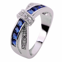 Wholesale Jewelry New sapphire lady s KT white Gold Filled Ring sz6 free