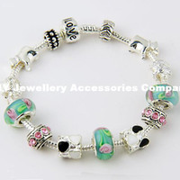 Wholesale Aliexpress Hot Sell Silver European Charm Bracelet Bangle for Women with Murano Glass Beads Fashion Love DIY Jewelry PA1019