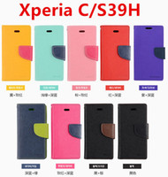 achat en gros de cas de xl39h-Mercury Portefeuille PU Flip Housse En Cuir Pour Sony Xperia Z L36H Z1 L39H Z2 D6503 Z1 Mini XL39H C1905 S39H M36H M35H S36H Avec Retail Box