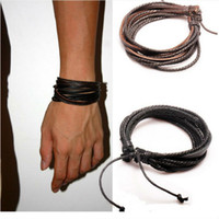 Wholesale 12pcs Mens Bracelets Wrap Multilayer Genuine Leather Black and Brown Braided Rope Bracelet for Men and Women Charms Fashion Man Jewelry
