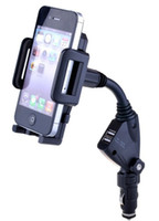 Wholesale Universal Dual USB Car Charger Rotatable Mount Stand Holder For Iphone S C S i Pad Mini Galaxy s4 s3 s2 Mobile Phones