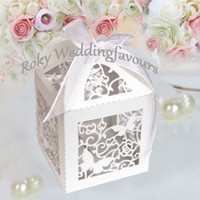 Wholesale White Ivory Lace Butterfly Laser Cut Boxes Wedding Favors Party Sweet Favor Box Ribbon included