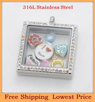Wholesale 2014 New Design Fashion mm Square Silver Crystal L Stainless Steel Glass floating locket pendants P276