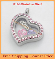 Beaded Necklaces Gift  2014 New 20mm askew heart PINK Crystal 316L stainless steel megnetic floating locket pendant,Wholesale charms glass lockets
