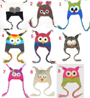 Wholesale Toddler Owl EarFlap Crochet Hat Baby Handmade Crochet OWL Beanie Hat Handmade OWL Beanie Knitted hat