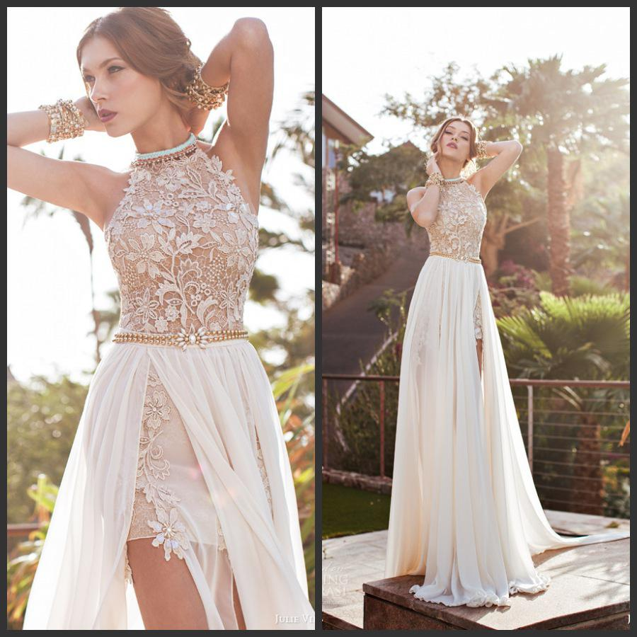 Newest 2014 bridal dress modern halter top lace mini short with