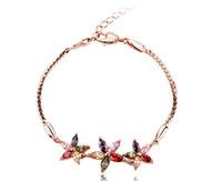 Wholesale Fashion Jewelry k rose gold plated Marquise cut multicolored Cubic Zircon Sun Flower Bracelet for women gift cm
