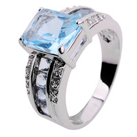 Wholesale Jewellery Luxury Aquamarine sapphire lady s KT white Gold Filled Ring for gift Size8 pc Freeshipping